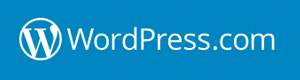 wordpress.com logo, white on blue