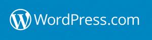 wordpress.com logo, white on blue