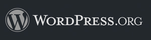 wordpress logo, white on dark grey